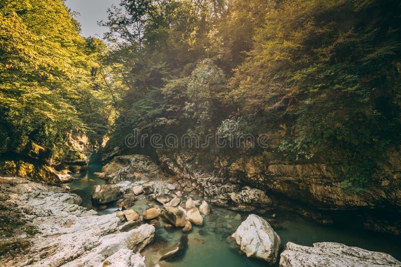 Martvili Canyon, Georgia. Landscape Abasha River. Natural Monuments. Martvili Canyon, Georgia. Landscape Abasha River. Natural Monument Is Located In The Village stock photography