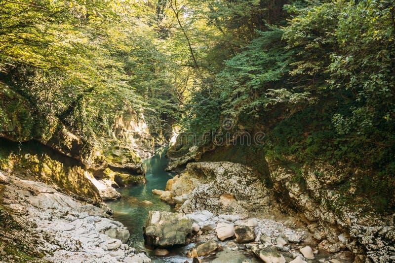 Martvili Canyon, Georgia. Landscape Abasha River. Natural Monuments. Martvili Canyon, Georgia. Landscape Abasha River. Natural Monument Is Located In The Village royalty free stock images
