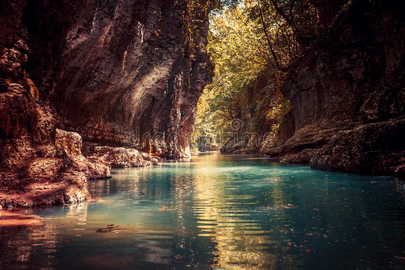 Martvili canyon in Georgia. Nature landscape. Martvili canyon in Georgia. Beautiful canyon with blue water mountain river. Place to visit. Nature landscape stock image