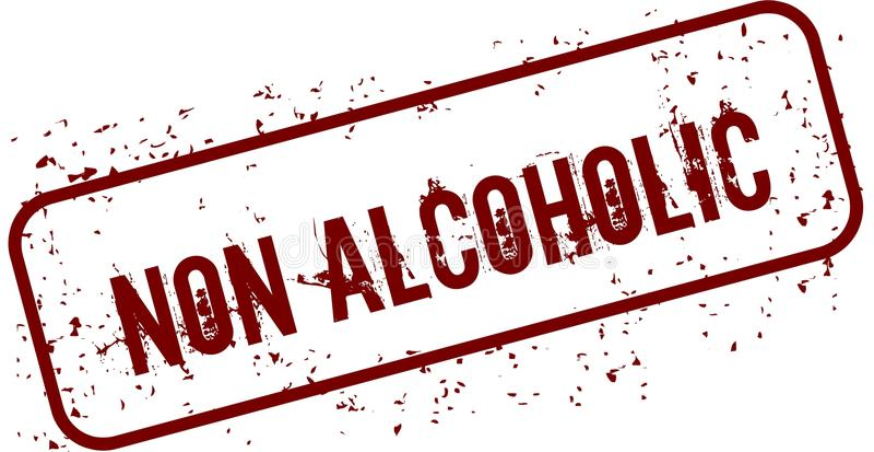 Martwiący NON ALKOHOLICZNY grunge znaczek ilustracji