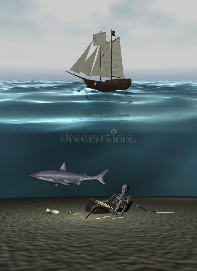 martwy stary skarb 3 d ilustracji