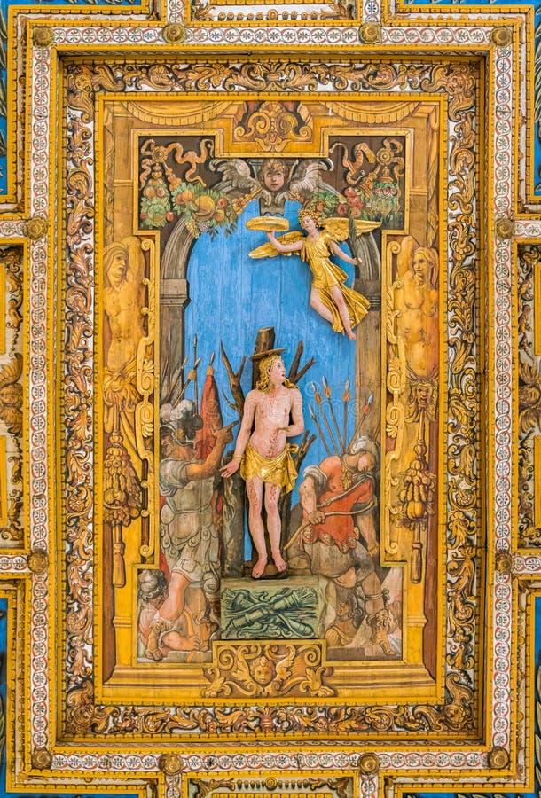 Martyrdom of Saint Sebastian by Annibale Durante in the ceiling of the Basilica of San Sebastiano Fuori Le Mura, in Rome, Italy. San Sebastiano fuori le mura stock images