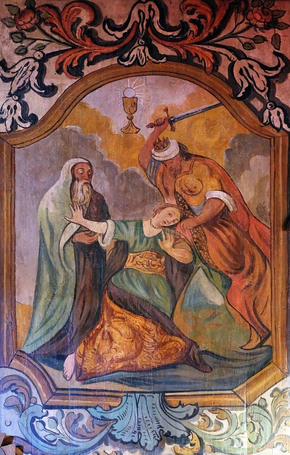 Martyrium und Tod von St. Barbara lizenzfreie stockbilder