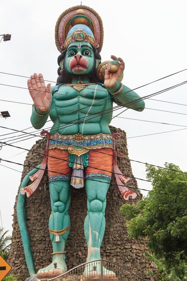 Maruthanamadam Anjaneyar寺庙和印度猴子神阁下Hanuman在贾夫纳,斯里兰卡 库存图片