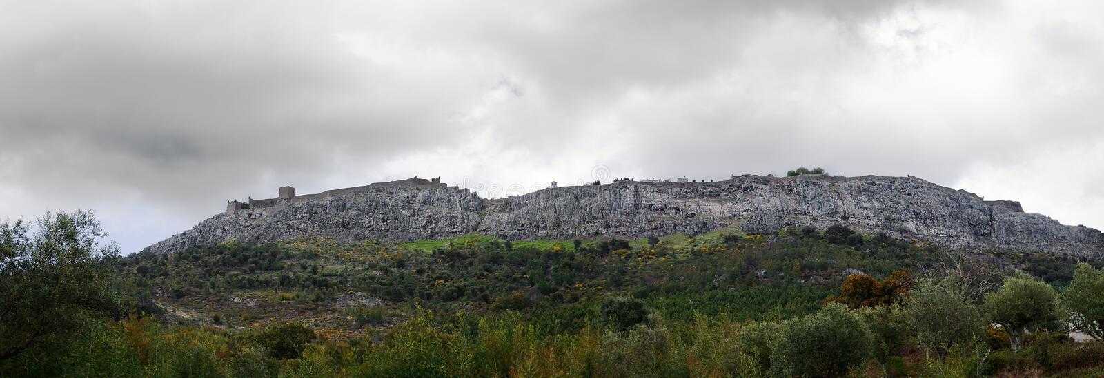Marvão town wall seen from below royalty free stock photo