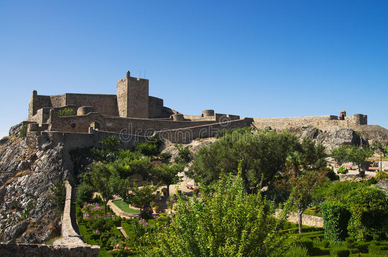 Marvao castle and garden under blue sky royalty free stock photos