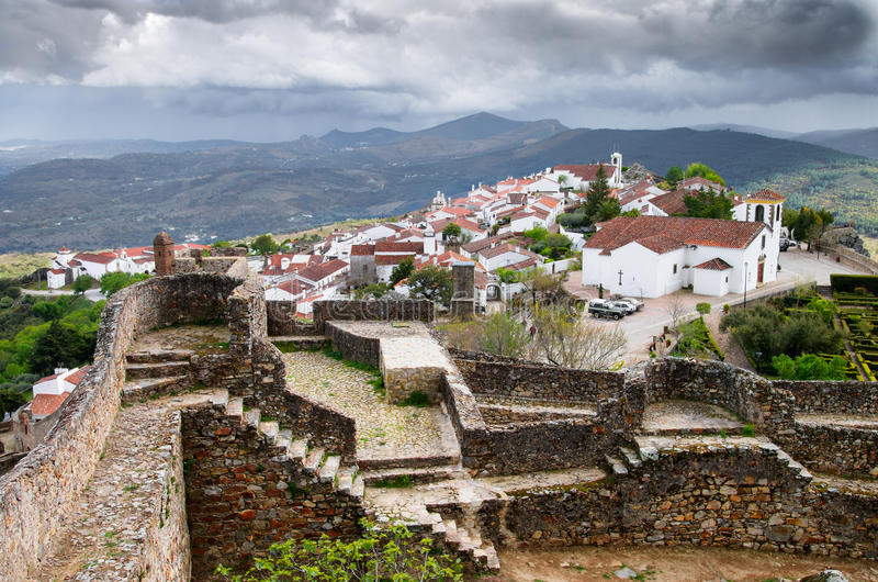 Marvao overview. Overview of the historical walled town of Marvao under an overcast sky. Alentejo, Portalegre, Portugal royalty free stock images