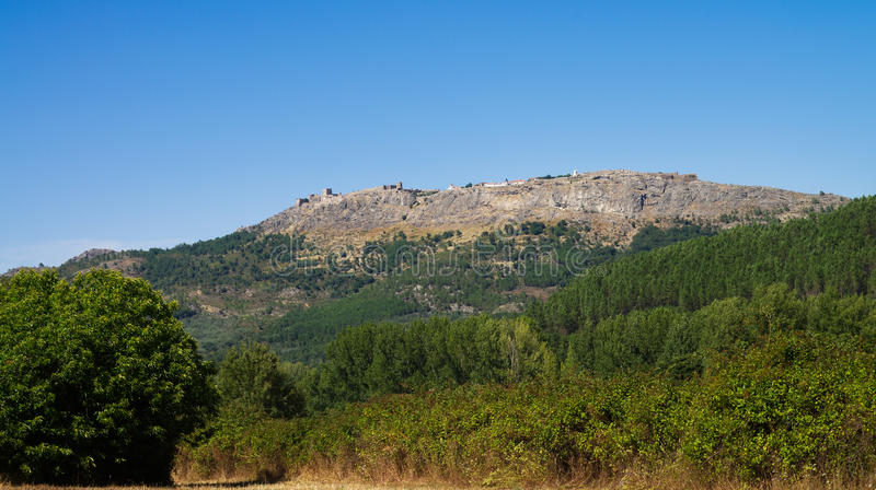 Marvao town at the top of the mountain stock photography