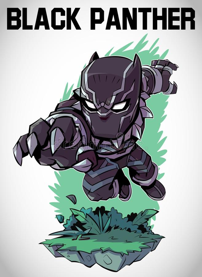 MARVEL BLACK PANTHER CHIBBI ART VECTOR. Black Panther This character is from marvel. We have created by using Adobe Illustrator and this Image contains only flat vector illustration