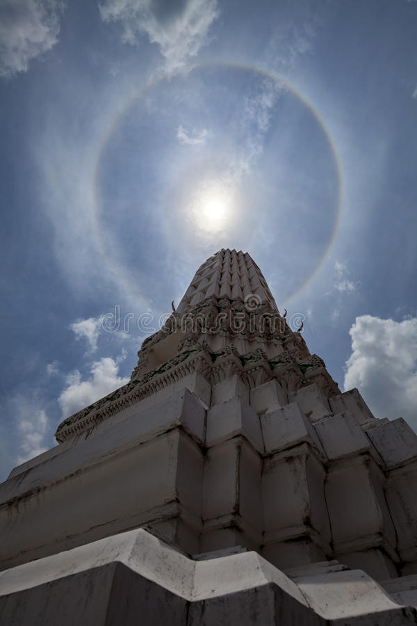 Marvelous double sun halo the Thai style in temple. Marvelous double sun halo. royalty free stock images