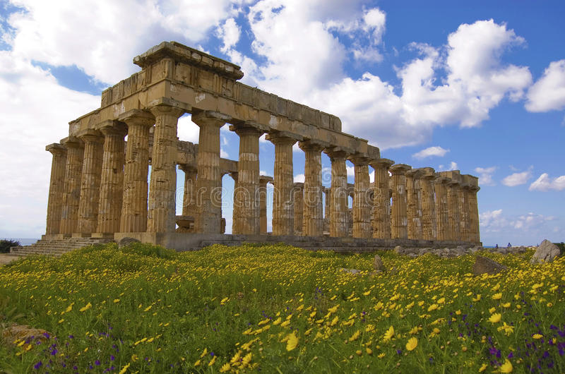 Marvelous greek temple. Old ruins in selinute, sicily, italy royalty free stock images