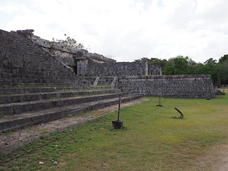Marvelous obserwatory at Chichen Itza mayan town at Mexico stock photo
