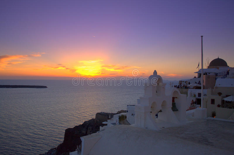 Magnificent sunset Santorini Greece. Magnificent sunset Santorini,Greece.Picture taken after sunset at Oia Santorini Greece-one heavenly place on September 5th royalty free stock images