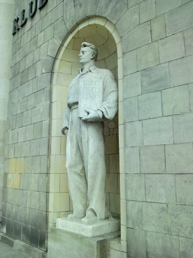 Marx Engels Lenin Warsaw Palace av kultur och vetenskap royaltyfri foto