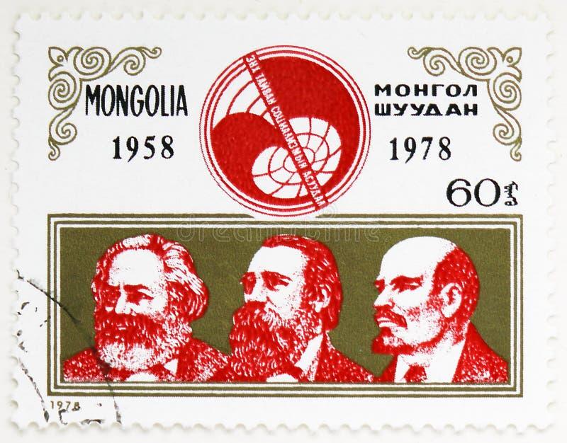 Marx, Engels och Lenin, 20th årsdagav \ '\ 'problem av fred och socialism \' \' tidskriftsserie, circa 1978 royaltyfri bild