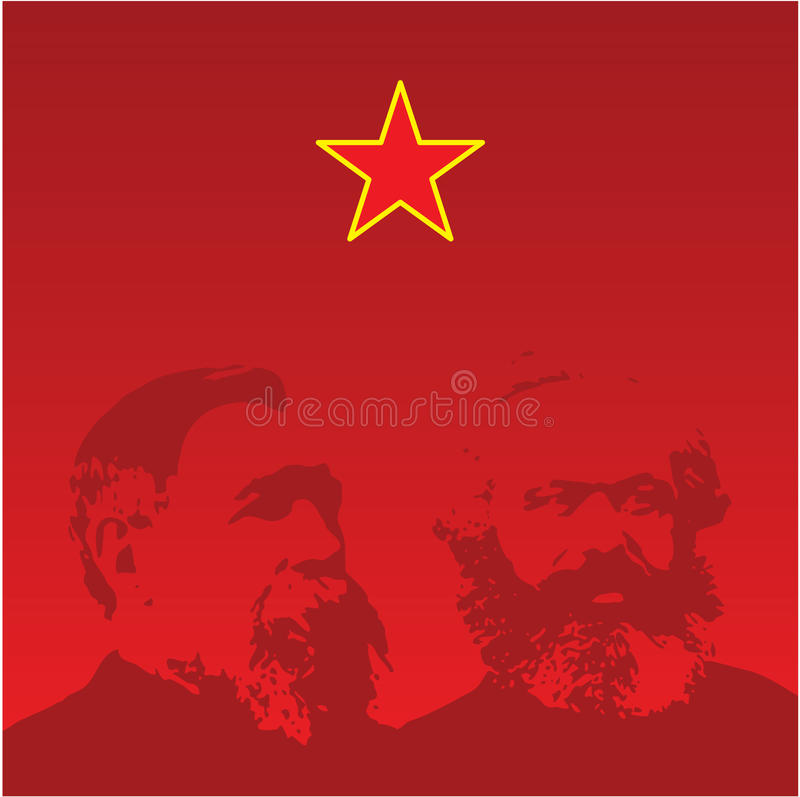 Marx And Engels Portraits - Vector Royalty Free Stock Images