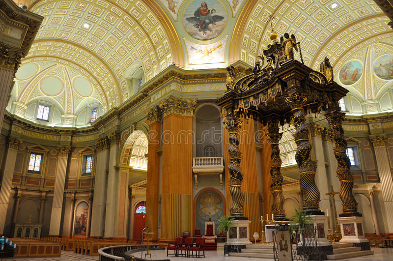 Mary βασίλισσα του παγκόσμιου καθεδρικού ναού, Μόντρεαλ στοκ φωτογραφία με δικαίωμα ελεύθερης χρήσης