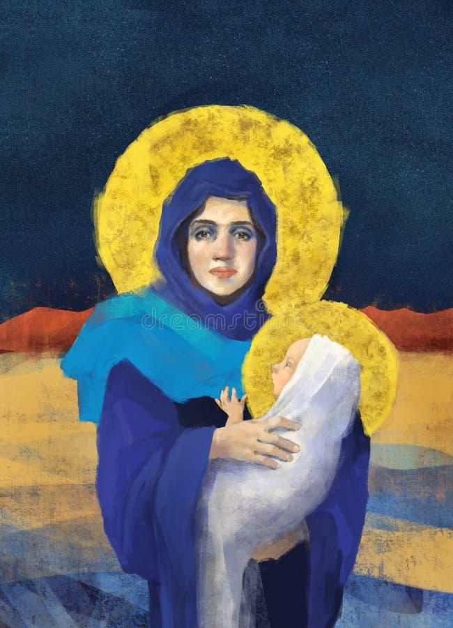 Mary και Ιησούς Christmas Illustration διανυσματική απεικόνιση