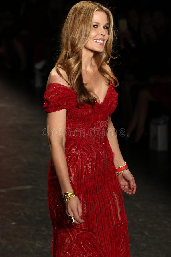 Mary Alice Stephenson walks the runway at The American Heart Association's Go Red For Women Red Dress Collection 2016 royalty free stock photo