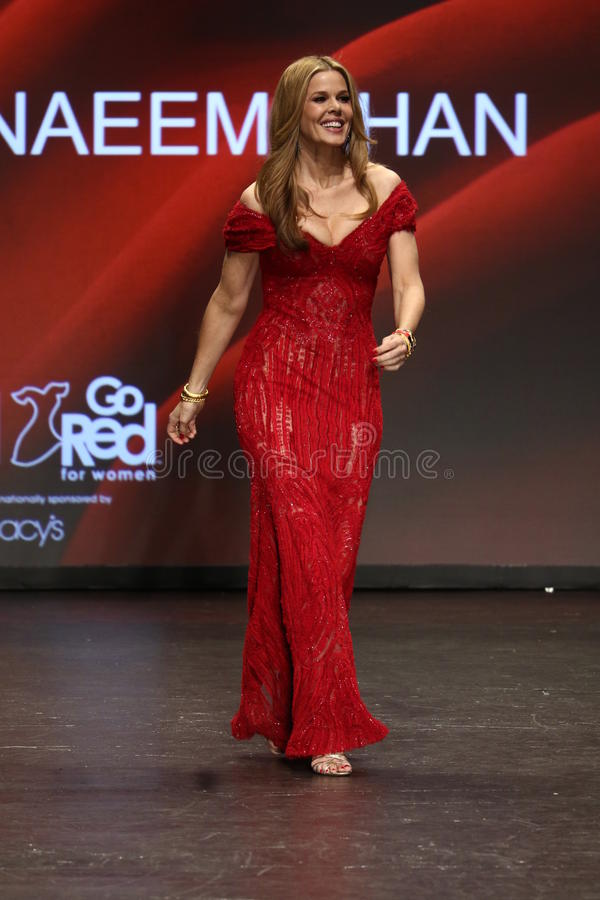 Mary Alice Stephenson walks the runway at The American Heart Association's Go Red For Women Red Dress Collection 2016 royalty free stock image