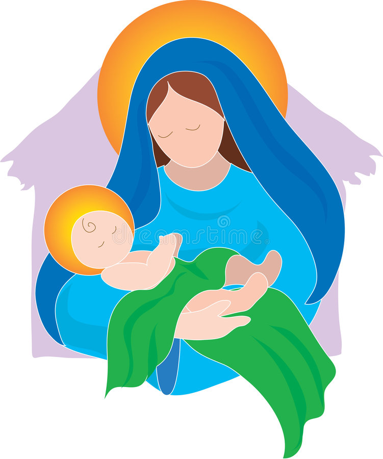 Mary and Baby. The Virgin Mary and the Baby Jesus royalty free illustration