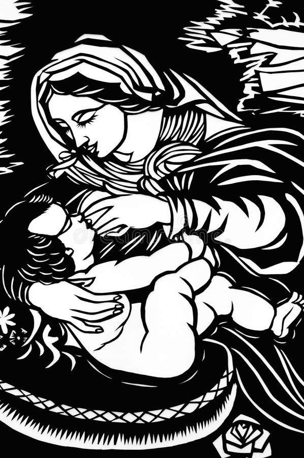 Mary with baby Jesus vector illustration