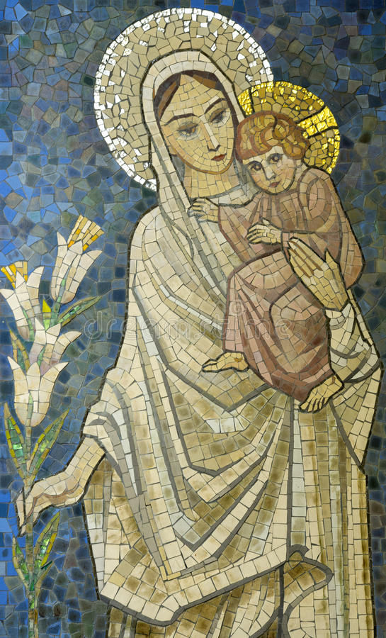 Mary with baby Jesus on her arm mosaic stock photos