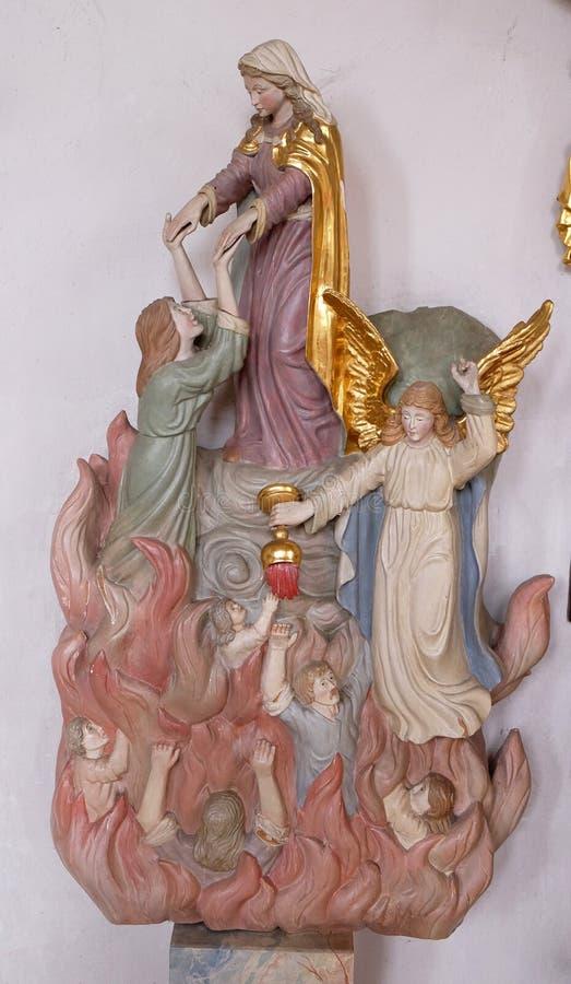Mary bewaart zielen van vagevuur royalty-vrije stock afbeeldingen