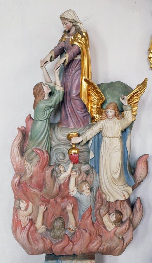 Mary bewaart zielen van vagevuur royalty-vrije stock foto's