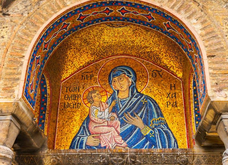 Mary Christ Mosaic Entrance Agioi Theodoroi Byzan orthodoxe grec photo libre de droits