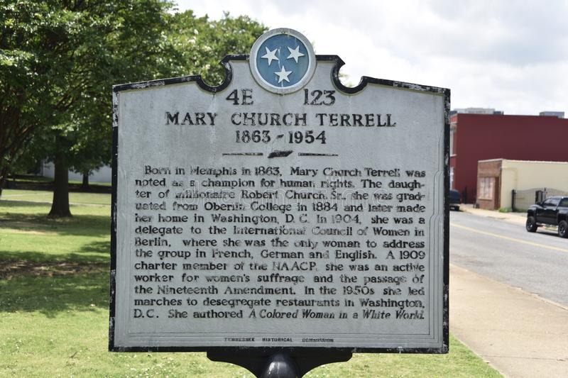 Mary Church Terrell Historical Marker, Memphis, TN royalty-vrije stock foto's