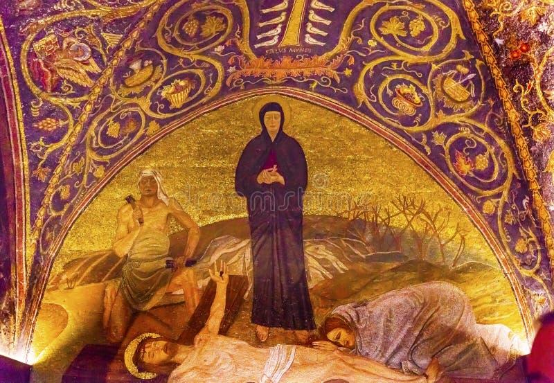 Mary Dead Jesus Mosaic Church santa sotterra Gerusalemme Israele fotografie stock