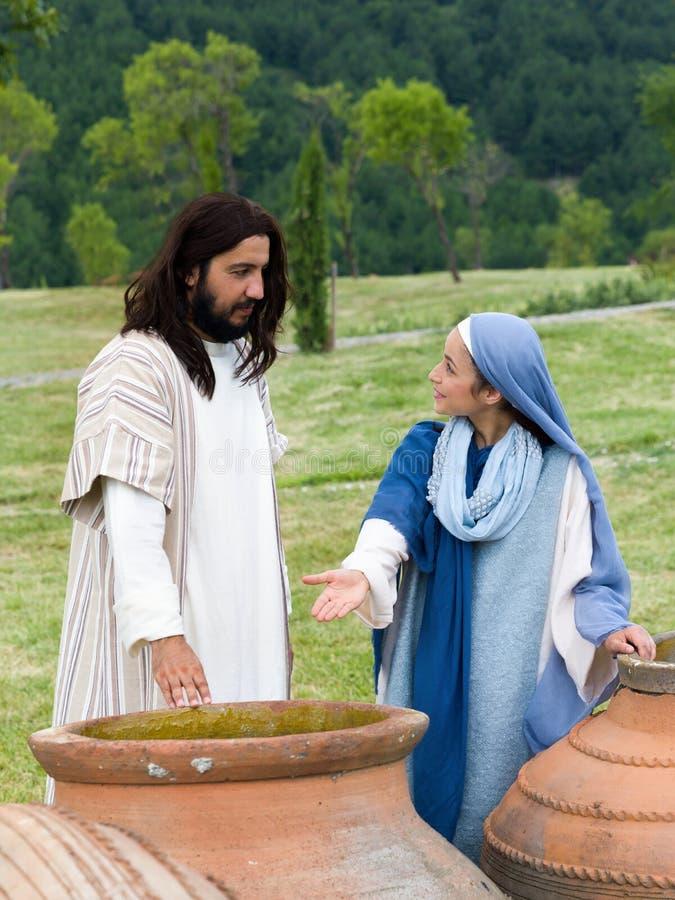 Mary die aan Jesus zeggen is er niet meer wijn royalty-vrije stock fotografie
