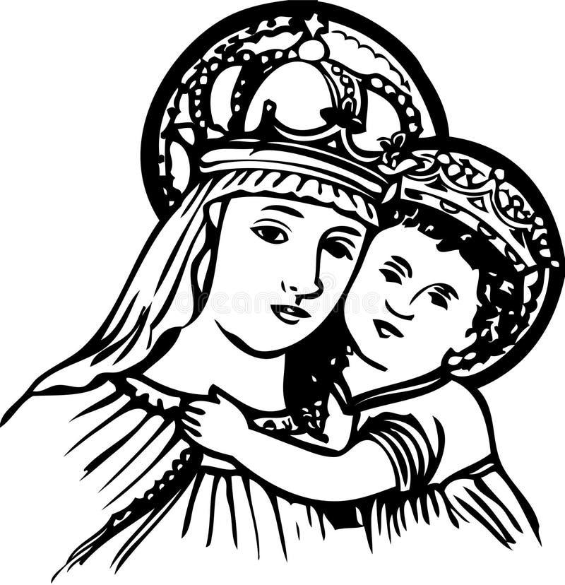 Mary e bebê Jesus ilustração stock