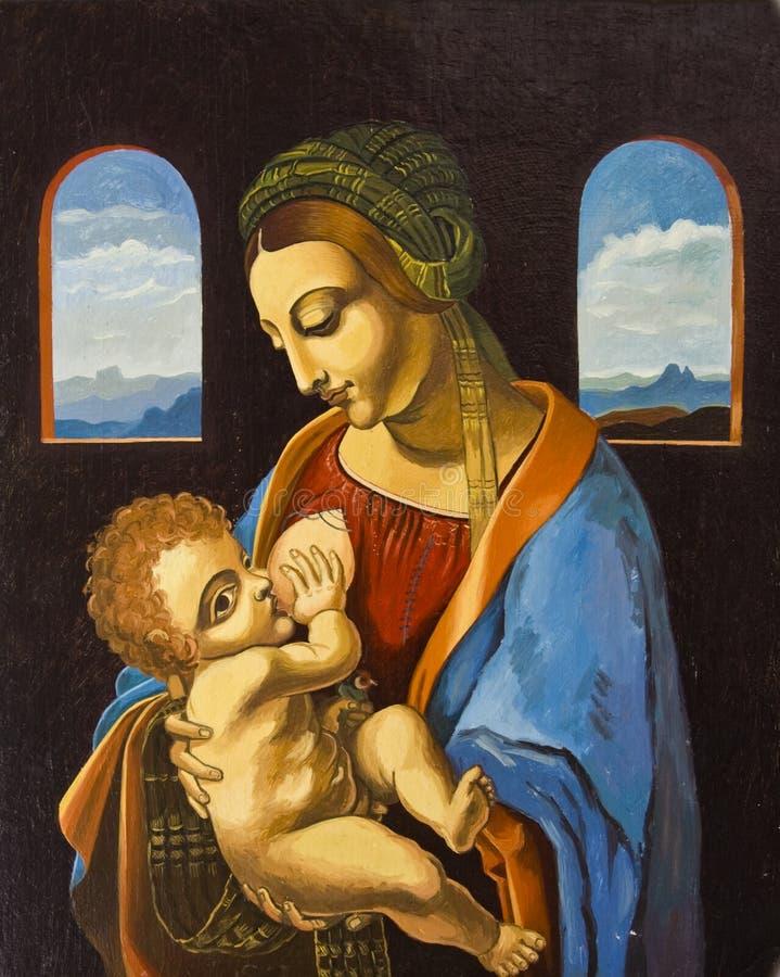 Mary e bebê Jesus   ilustração do vetor