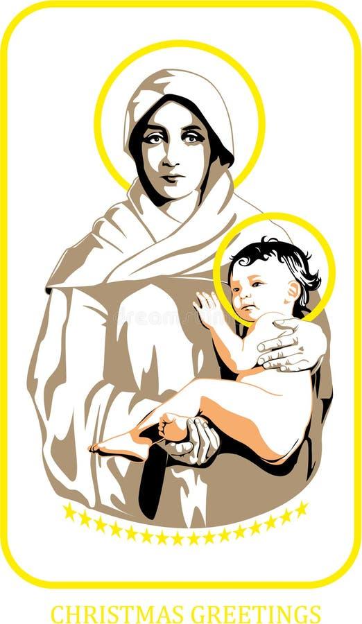 Mary e Jesus ilustração do vetor