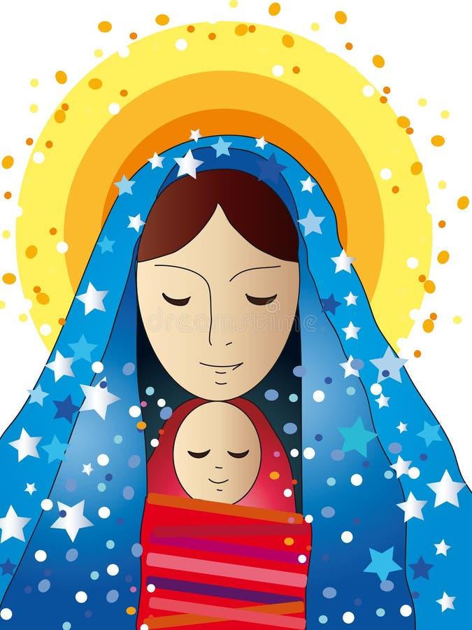 Mary e Jesus illustrazione di stock
