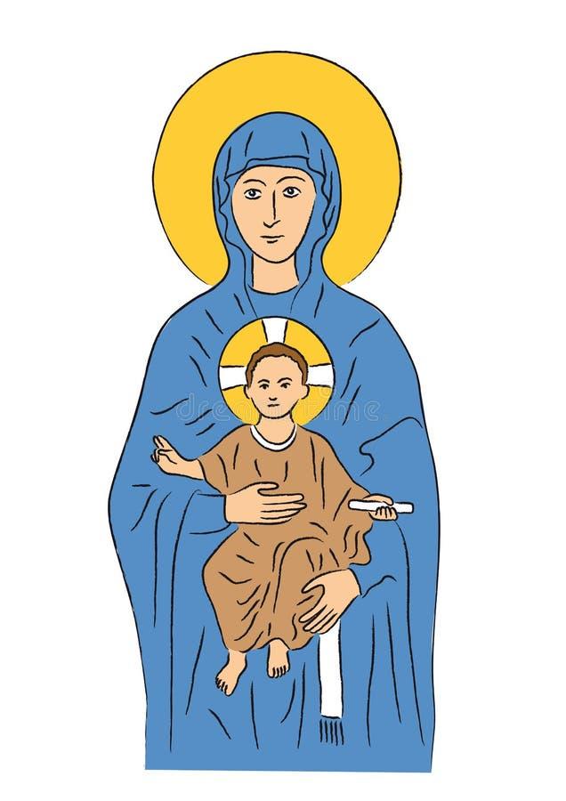 Mary e Jesus (vetor) ilustração royalty free