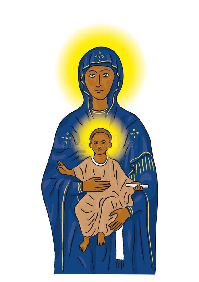 Mary e Jesus (vetor) ilustração stock
