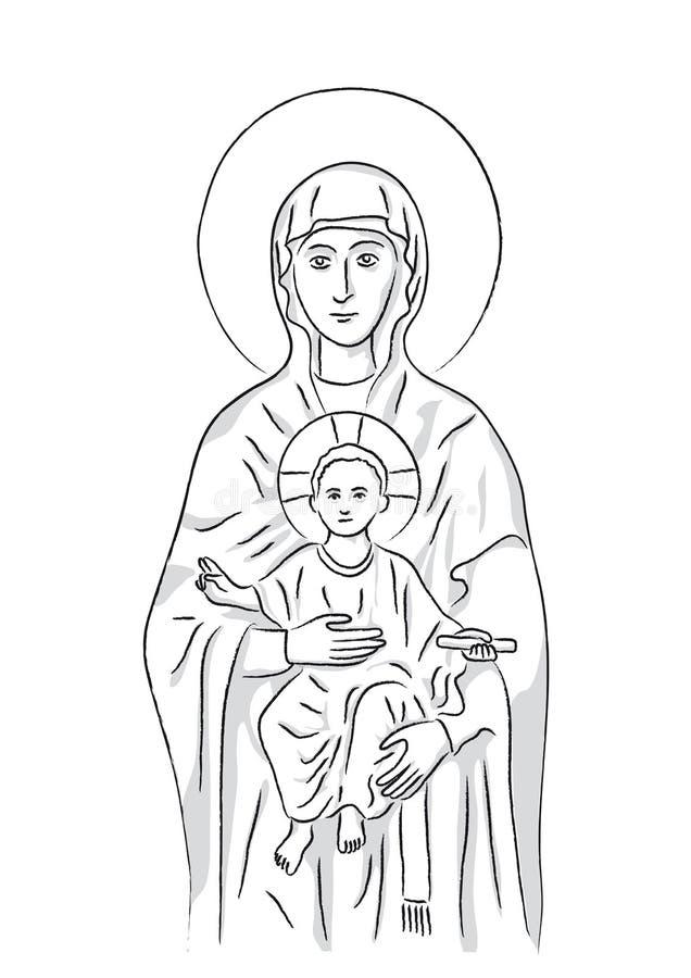 Mary e Jesus (vetor) ilustração do vetor