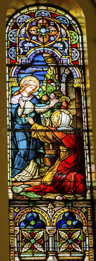 Mary Elizabeth Sined Glass Saint Mary & x27; de katholieke kerk San Antonio Texas stock foto