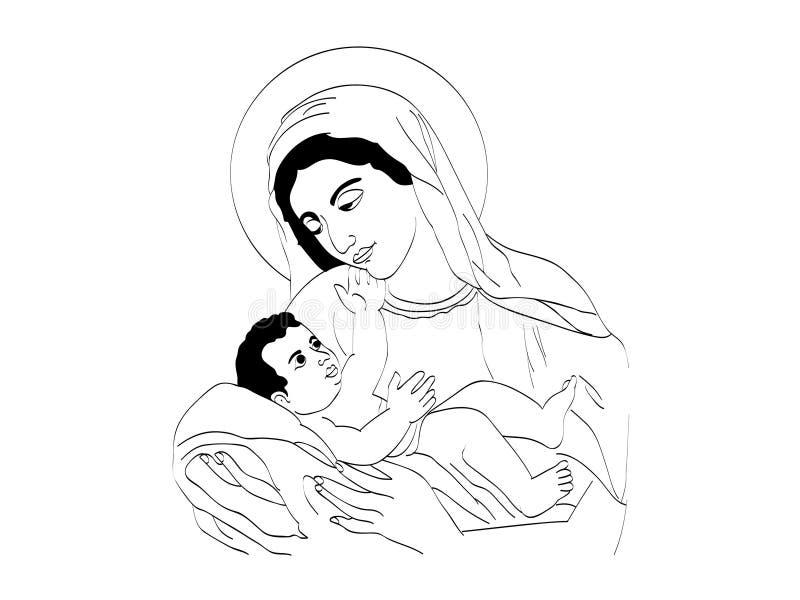 Mary en Baby Jesus stock illustratie