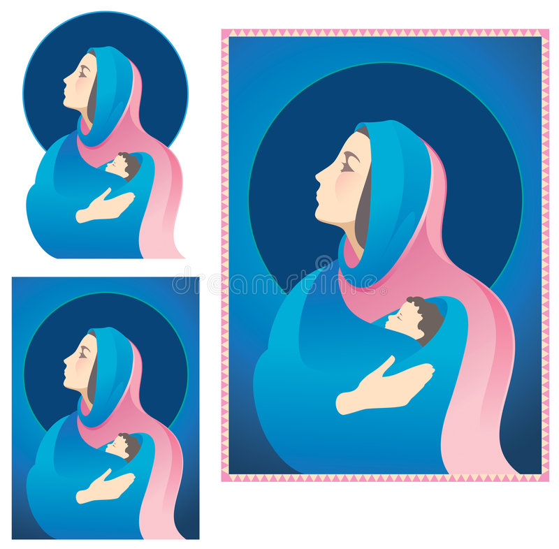 Mary en Jesus Nativity vector illustratie