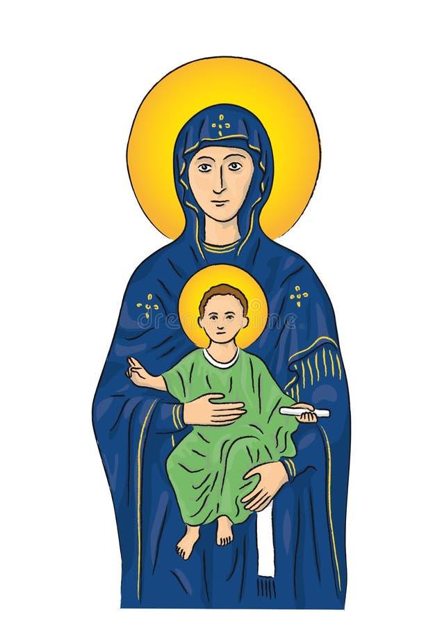 Mary en Jesus (vector) vector illustratie