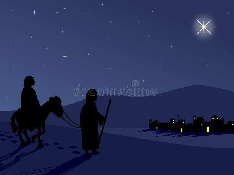 Mary en Joseph door Bethlehem royalty-vrije illustratie