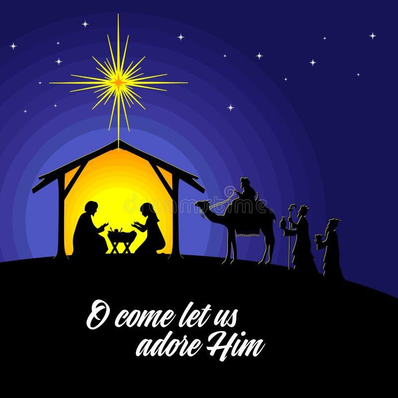 Mary en Joseph met de baby Jesus Geboorte van Christusscène dichtbij de stad van Bethlehem De wijzen gaan Christus aanbidden vector illustratie