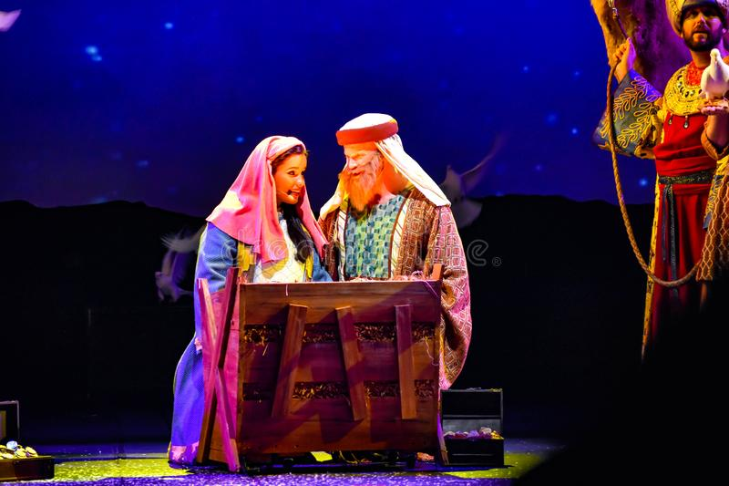 Mary et Joseph dans l'exposition de célébration de Noël chez Seaworld dans la région internationale d'entraînement photo stock