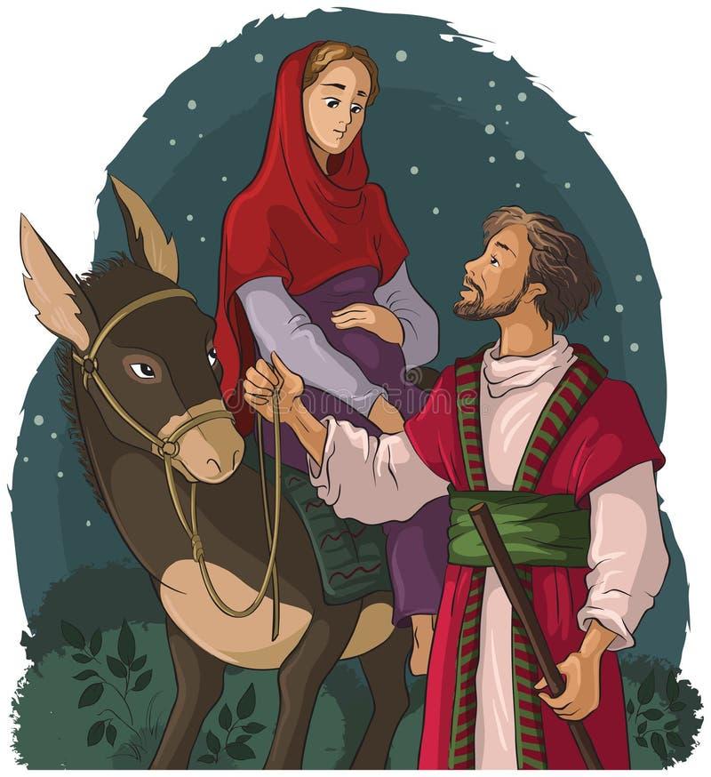 Mary et Joseph voyageant par l'âne à Bethlehem Histoire de nativité illustration libre de droits