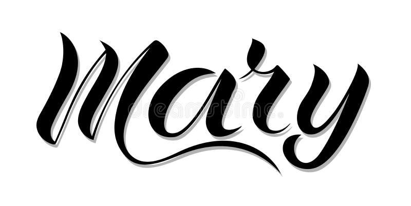`-Mary för kvinnlign räcker känd `, skriftligt i modern bokstäverstil stock illustrationer