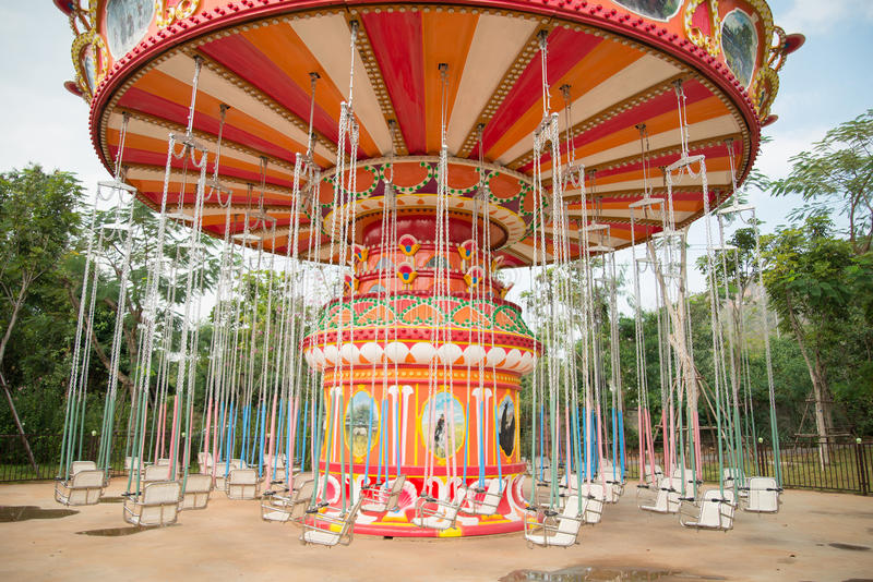 Mary go round in the amusement park outdoor. Mary go round in the amusement park stock images
